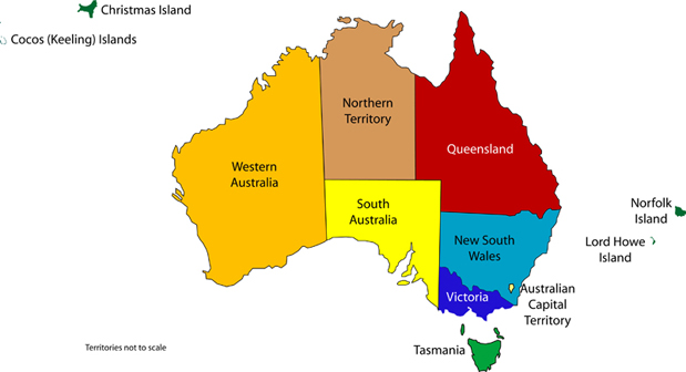 Australia Map And States.Australian State And Territory Flags